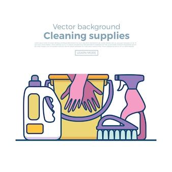 Huishoudelijke schoonmaakbenodigdheden banner met elementen in vlakke omtrekstijl.