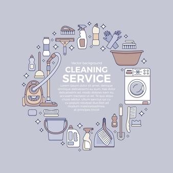 Huishoudelijke schoonmaakbenodigdheden sjabloon met elementen in vlakke omtrekstijl.