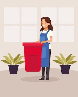 Huishoudelijke vrouwelijke werknemer met avatar karakter van de vuilnisbak