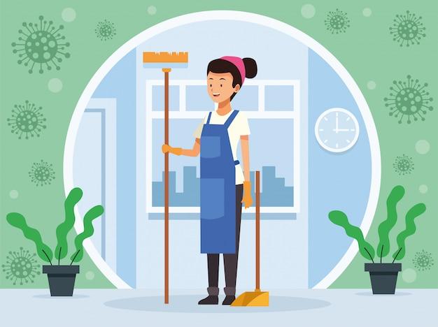 Huishoudelijke vrouwelijke werknemer met bezem en blik avatar karakter
