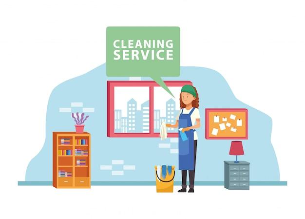 Huishoudelijke vrouwelijke werknemer met emmer en spuitfles avatar karakter