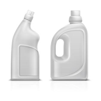 Huishouden chemische lege 3d plastic witte flessen. toilet antiseptische schonere fles vectorillustratie geïsoleerd. schonere flessencontainer, wasmiddel voor de huishouding