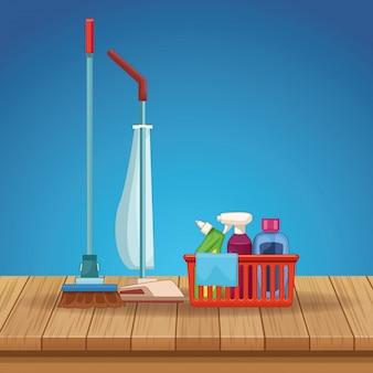Huishouden schoonmakende beeldverhaal