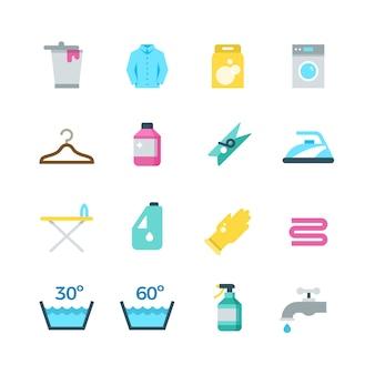 Huishouden wassen drogen en wasserij vector plat pictogrammen