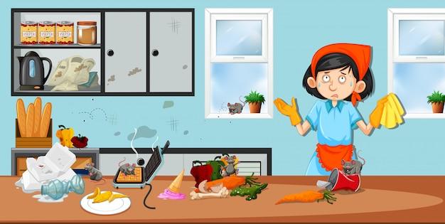 Huishoudster in vuile keuken