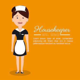 Huishoudster service hotel geïsoleerde pictogram