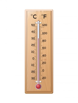Huishoudthermometer om de temperatuur van de lucht op een houten voet te meten. thermometer met twee schalen - celsius en fahrenheit.