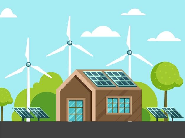 Huisillustratie met zonnepaneel, windmolens en boom op hemelsblauwe achtergrond. kan als poster gebruikt worden.