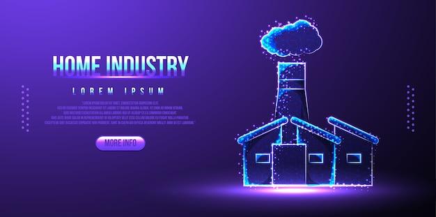 Huisindustrie, bedrijfsgebouw, laag poly draadframe