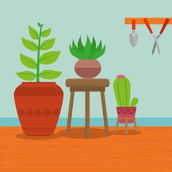 Huisinterieur met decoratieve planten