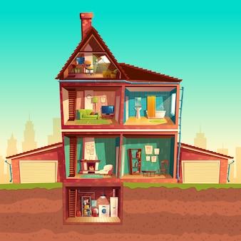 Huisinterieur met drie verdiepingen in doorsnede met kelder en garage.