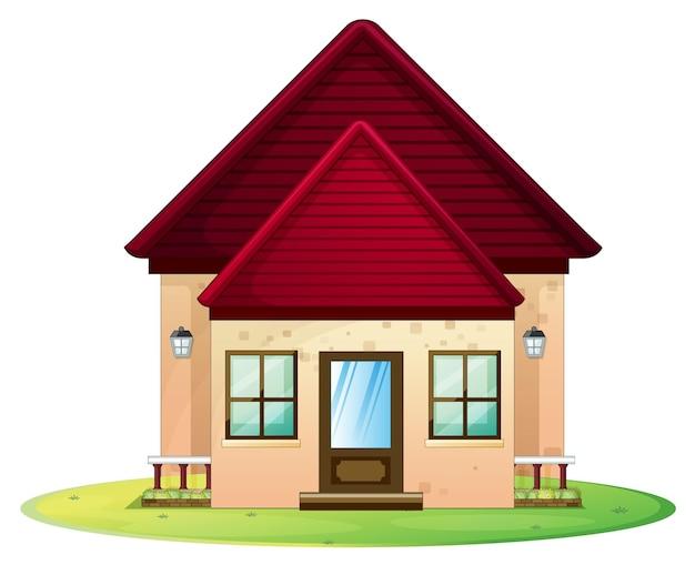 Huisje met rood dak