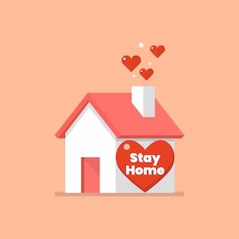 Huisje met woord thuis blijven