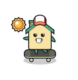 Huiskarakterillustratie berijdt een skateboard, schattig ontwerp