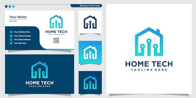 Huislogo met moderne technologiestijl premium vector