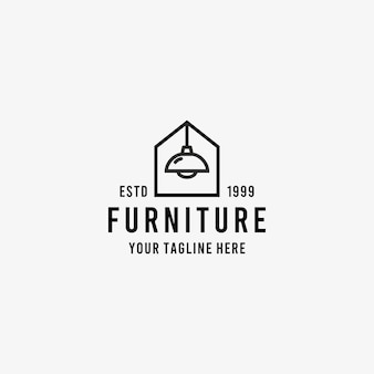 Huismeubilair lijn kunst stijl ontwerp symbool logo illustratie sjabloon