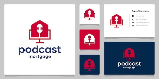 Huismicrofoon onroerend goed negatieve ruimte logo-ontwerp met visitekaartje