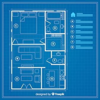 Huisplan met blauwdrukconcept