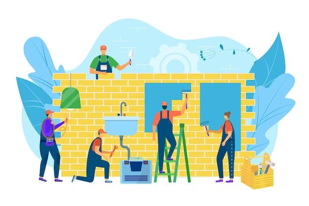 Huisrenovatie, arbeider dichtbij muurbouw, vectorillustratie. man vrouw mensen karakter schilderen gebouw, loodgieterswerk en elektrisch werk.