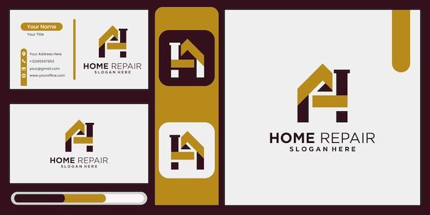 Huisrenovatie huisreparatie huisverbetering en industrieel logo-ontwerp met weergave van visitekaartjes