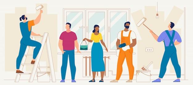 Huisreparatie en renovatie flat vector concept