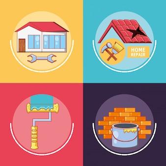 Huisreparatie met hulpmiddelen vastgestelde pictogrammen