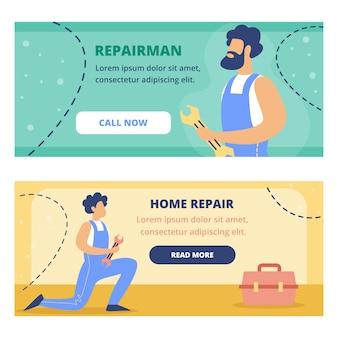 Huisreparatie, reparateur service flat banner set