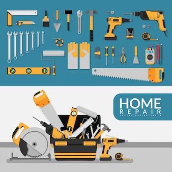 Huisreparatieservice sjabloon met set van reparatie tools.