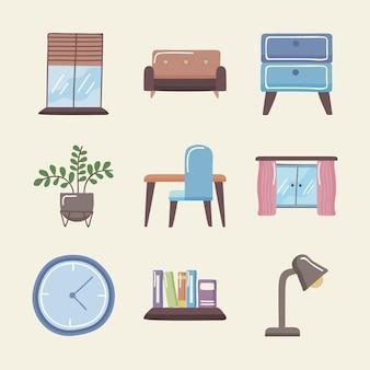 Huisruimten pictogrammenset op witte achtergrond