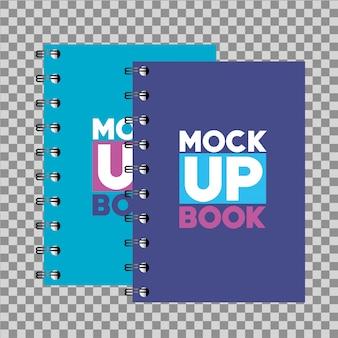 Huisstijl branding, met notitieboekjes met blauwe en paarse omslagkleuren