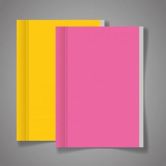 Huisstijl branding, met omslagboeken in roze en gele kleur