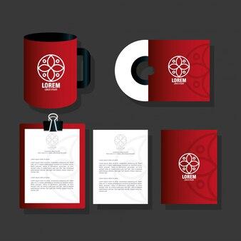 Huisstijl merk, set zakelijke briefpapier, rood met wit bord