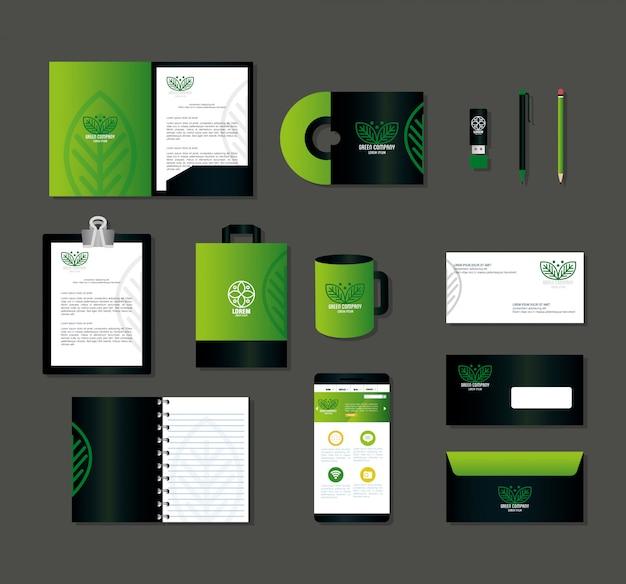 Huisstijl merk, smartphone en bedrijfspictogrammen groen, groen bedrijfsteken