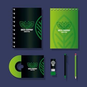Huisstijl merk, zakelijk briefpapier groen instellen, groen bedrijfsbord
