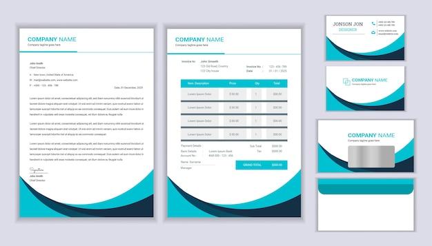Huisstijl ontwerp met briefhoofdsjabloon, factuur en visitekaartje