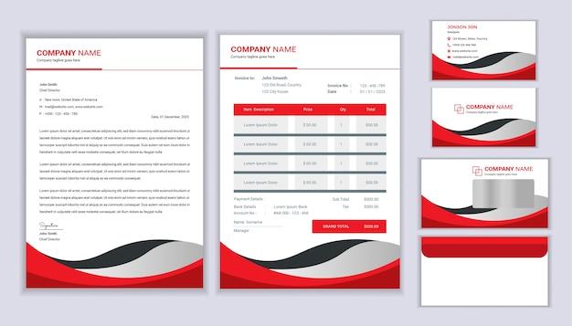Huisstijl sjabloon. briefpapier sjabloonontwerp met briefhoofdsjabloon, factuur, envelop en visitekaartje.