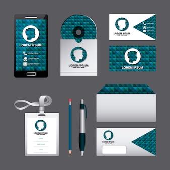 Huisstijl sjabloon set zakelijke briefpapier mock-up met embleem branding