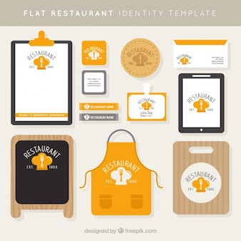 Huisstijl voor een restaurant in vlakke stijl