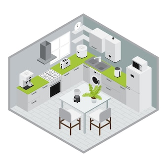 Huistoestellen isometrics keukensamenstelling in 3d-ontwerp met muren en vloer