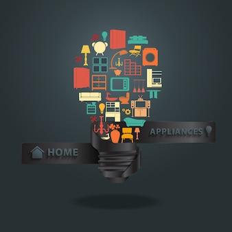Huistoestellenpictogrammen met creatief gloeilampenidee