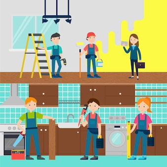 Huisverbetering team horizontale banners