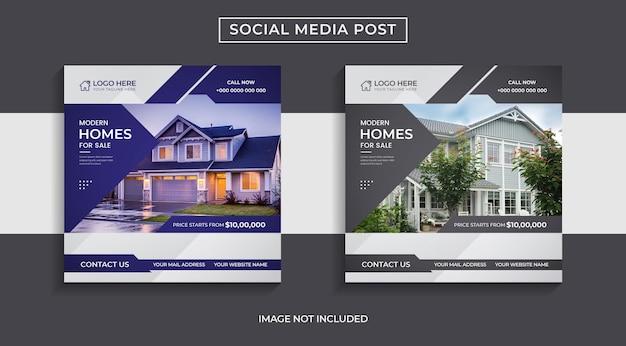 Huisverkoop onroerend goed social media postontwerp met twee kleuren abstracte vormen.