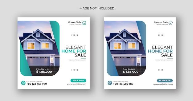 Huisverkoop zakelijke sociale media post vierkante bannersjabloon