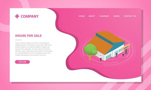 Huisverkoopconcept voor websitesjabloon of landingshomepage met isometrische stijl