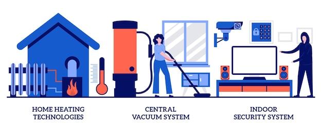 Huisverwarming, centraal stofzuigsysteem, binnenbeveiligingsconcept met kleine mensen. home technologieën vector illustratie set. slimme automatisering van huishoudapparatuur, mobiele applicatie, huishoudelijke metafoor.