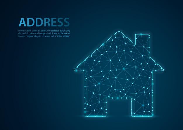 Huisvorm met abstracte maisch lijn- en puntschalen. draadframe 3d mesh veelhoekige netwerklijn, ontwerpbol, punt en structuur.