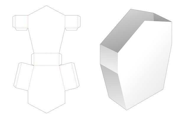 Huisvormige briefpapier doos met handvat gestanst sjabloon