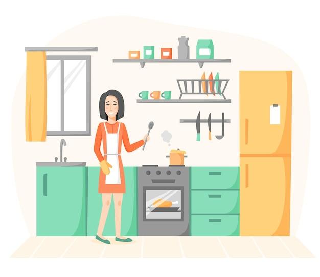 Huisvrouw die zelfgemaakte maaltijden kookt. lachende vrouw in keuken interieur.