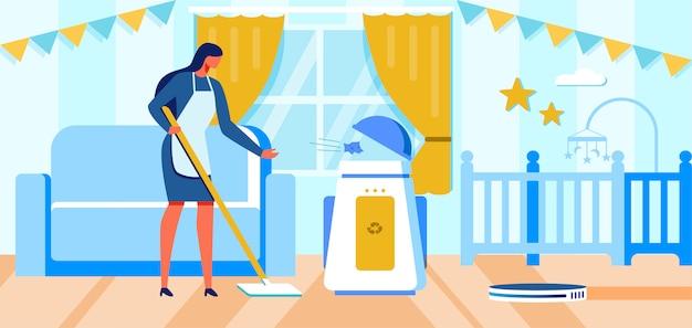 Huisvrouw en huishoudelijke klusjes automatisering cartoon