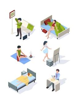 Huisvrouw huiswerk maken dagelijkse processen slapen eten bij keuken fitness isometrische set.